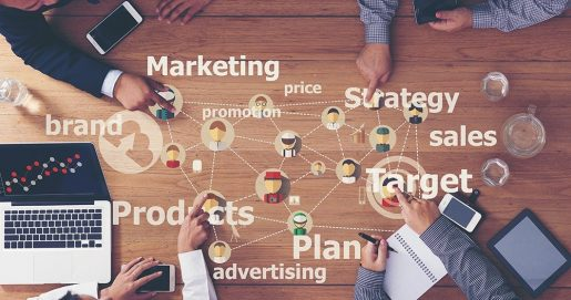 Marketing strategy game plan graphic.