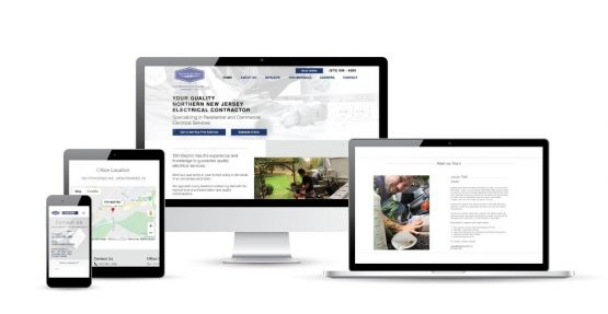 Affordable web design for Toth Electric. Website displayed on a variety of platforms.